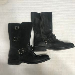Frye Women's Black Leather Moto Boots